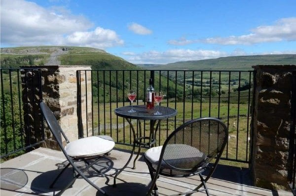 The best view of Swaledale from the Lovely Seat cottage balcony