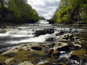 Aysgarth Falls in Wensleydale in the Yorkshire Dales in northeast England